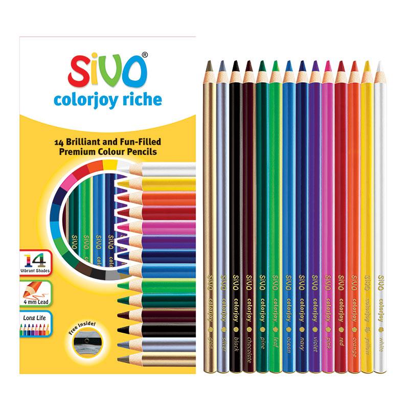 Krāsainie zīmuļi SIVO, ar asināmo, 14 krāsas