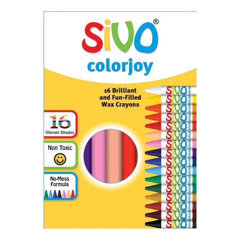 Vaska krītiņi SIVO, apaļi, 90 mm, 16 krāsas