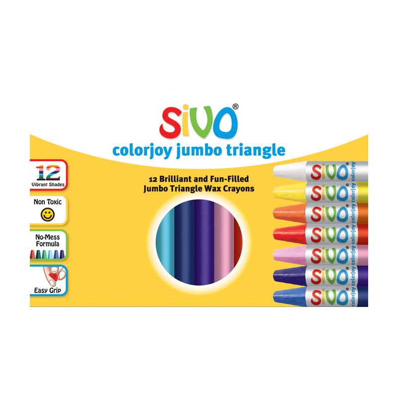 Vaska krītiņi SIVO, Jumbo, trīsstūra forma, 12 krāsas