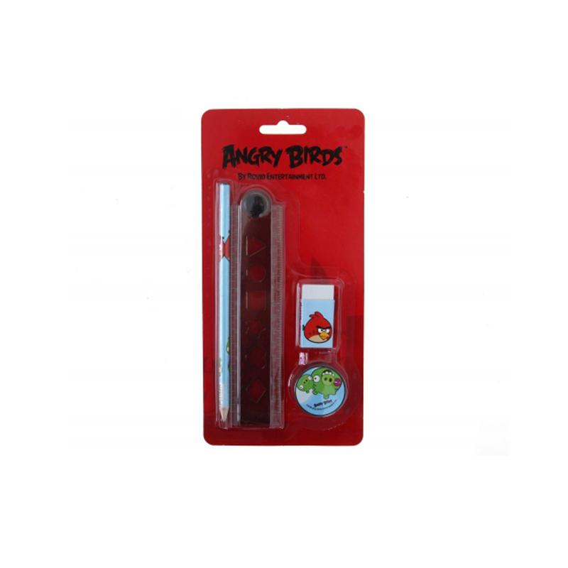 Komplekts ANGRY BIRDS - lineāls, dzēšgumija, pildspalva, uzlīmes