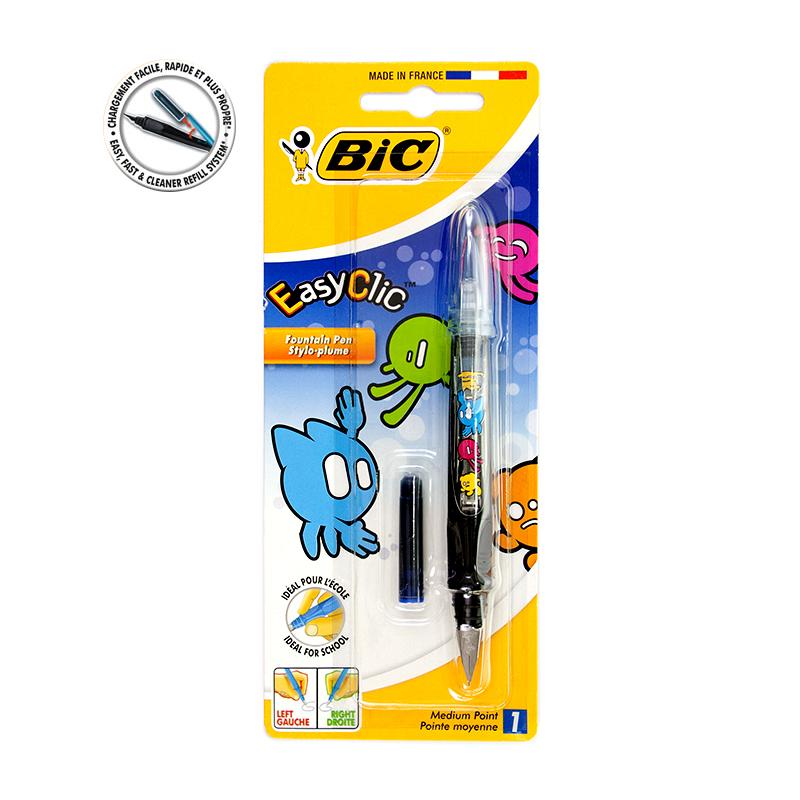 Tintes pildspalva BIC EasyClic melns korpuss, zila tinte, blisterī, 1 gab.