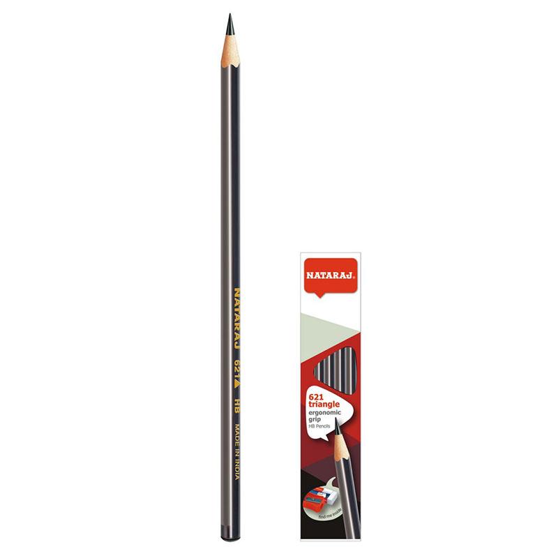 Zīmulis NATARAJ 621 TRIANGLE (HB) Pelēks/Melns, noasināts