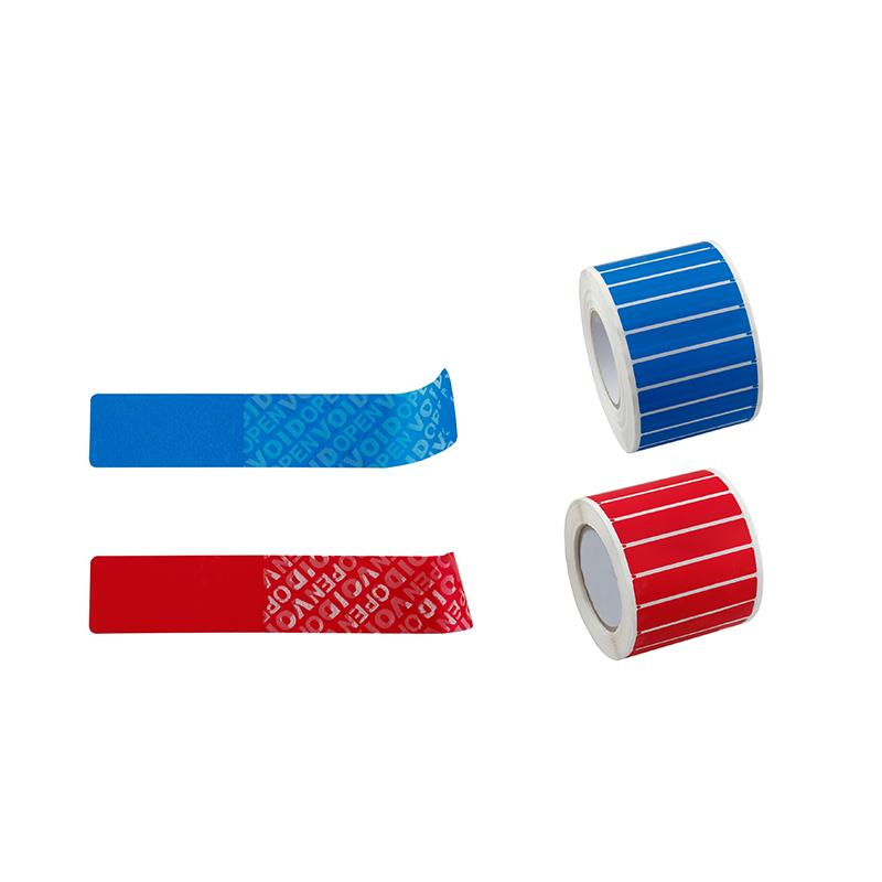 Drošības etiķetes, NT, 25x85mm, zilā krāsā, 100 uzlīmes