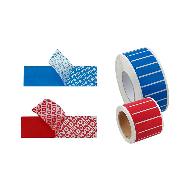 Drošības etiķetes, PT, 20x60mm, zilā krāsā, 100 uzlīmes/ rullī