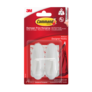 17081 Command™ Designer Hooks Medium White 2HKS+4S/PK
