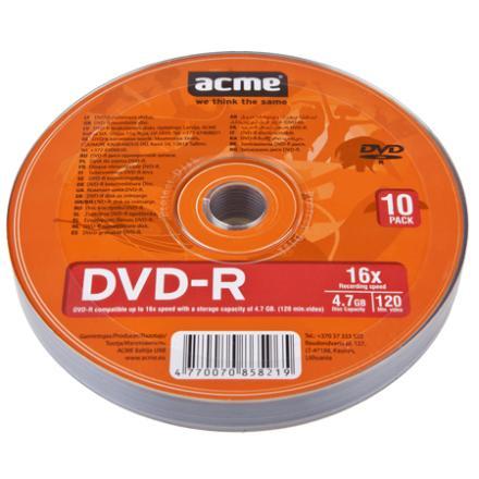 Kompaktdiski ACME DVD-R 4.7 GB 16x, 10 gab./iepak., spindle
