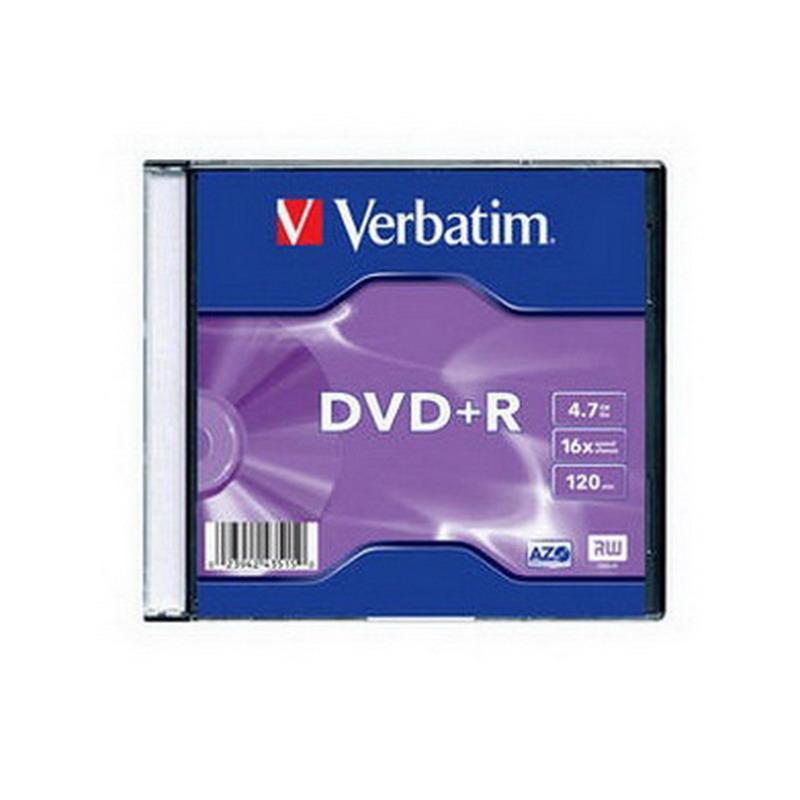 Kompaktdisks VERBATIM DVD+R 4,7GB 16x, slim
