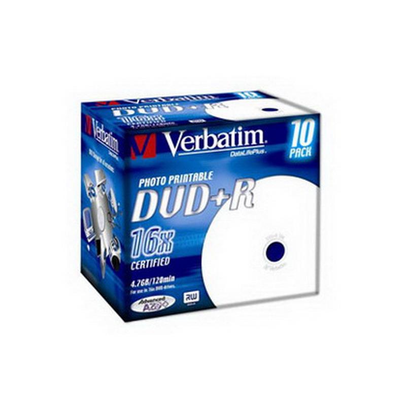 Kompaktdisks VERBATIM DVD+R DLP 4.7GB 16x, Printable, Jewel