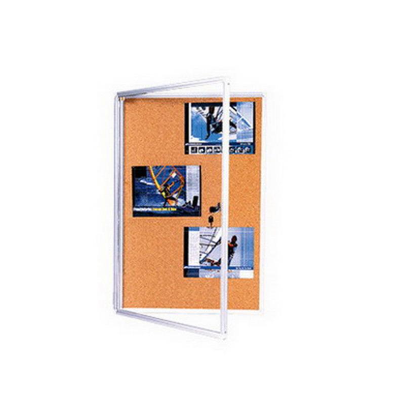 Korķa ziņojumu dēlis 2X3 ar slēdzamām, stiklotām durvīm, 120 x 180 cm