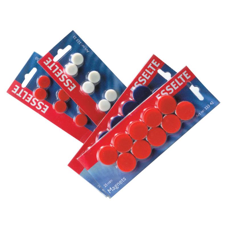 Tāfeles magnēti ESSELTE 25mm, sarkani, 10 gab./iepak.