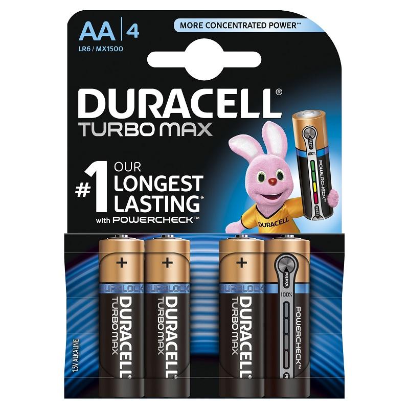 Baterija DURACELL Turbo MAX, AA, LR06, 4 gab./iepak.