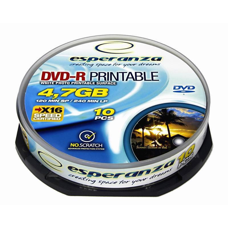 DVD-R ESPERANZA cakebox, 10 gab./ iepak., 4.7GB,16x, printable