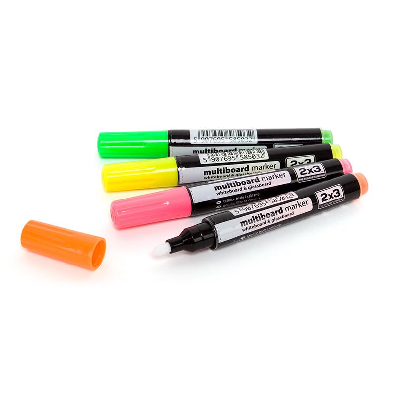 Marķieri stikla un magnētiskai tāfelei, 4 gab., fluorescējošs - zaļš, dzeltens, oranžs, rozā (AS143)