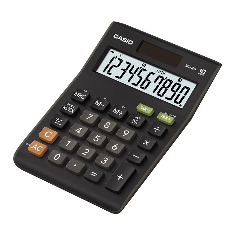 Galda kalkulators CASIO MS-10, 103 x 147 x 29 mm, melns
