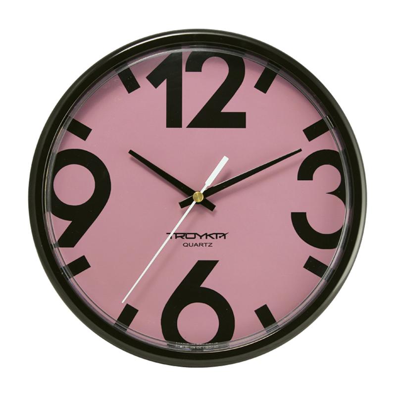 Sienas pulkstenis TROYKA, ar diametru 23 cm, pasteļu sarkanā
