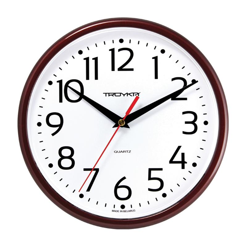 Sienas pulkstenis TROYKA, ar diametru 23 cm, balts vīna krāsas korpusā
