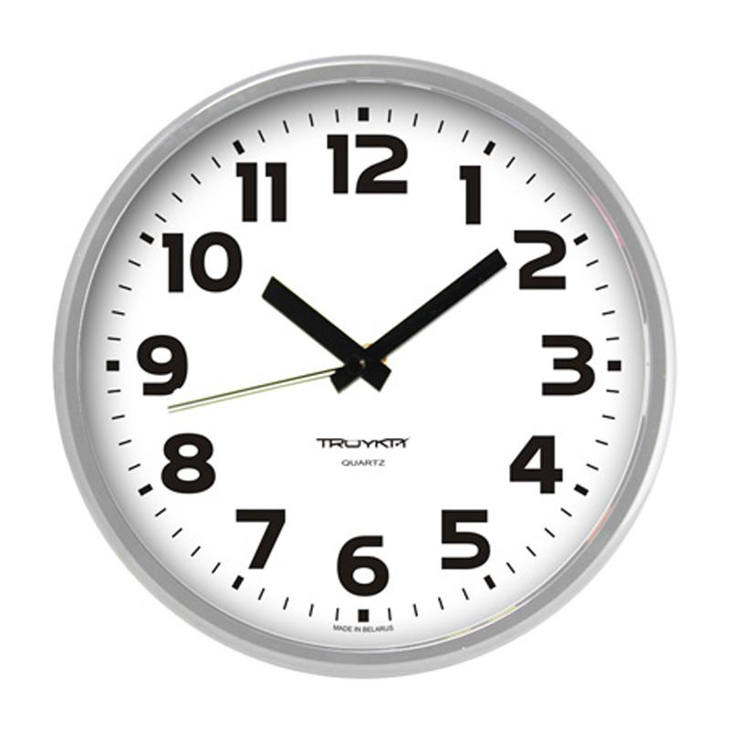 Sienas pulkstenis TROYKA, ar diametru 23 cm, balts pelēkā korpusā