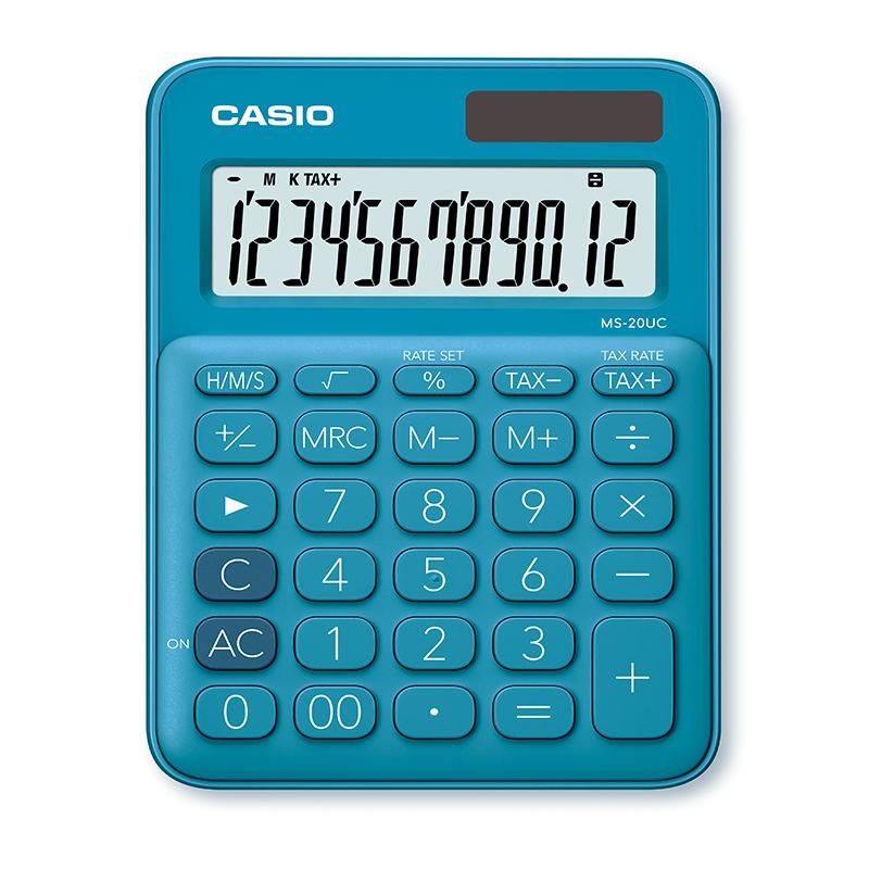 Galda kalkulators CASIO MS-20UC-BU, 105 x 150 x 23 mm, zils