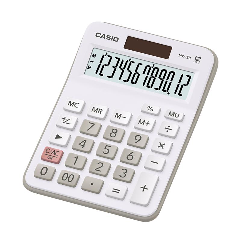 Galda kalkulators CASIO MX-12B, balts