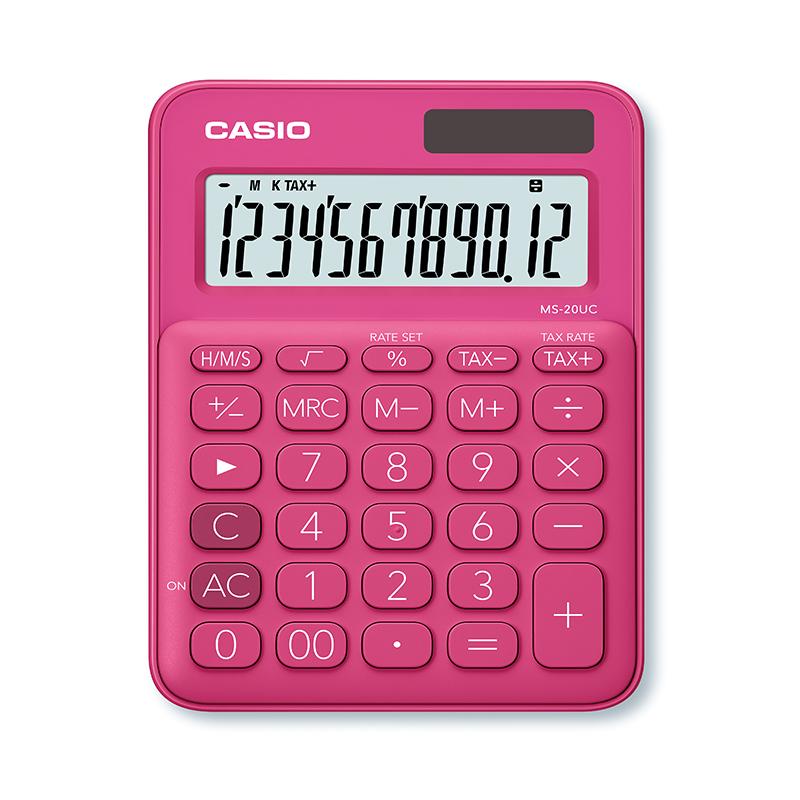 Kalkulators CASIO MS-20UC, 105 x 150 x 23 mm, fuksijas krāsa