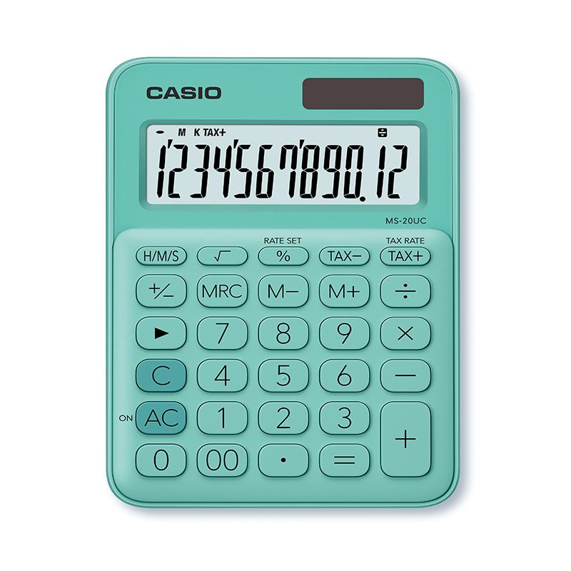 Kalkulators CASIO MS-20UC, 105 x 150 x 23 mm, piparmētru zaļš