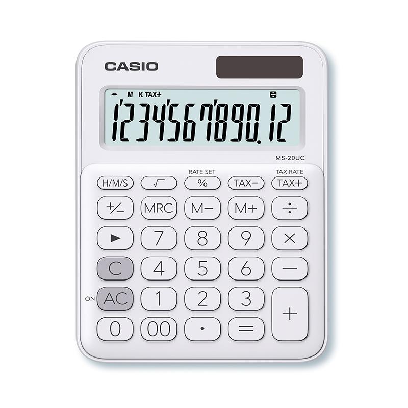 Kalkulators CASIO MS-20UC, 105 x 150 x 23 mm, balts