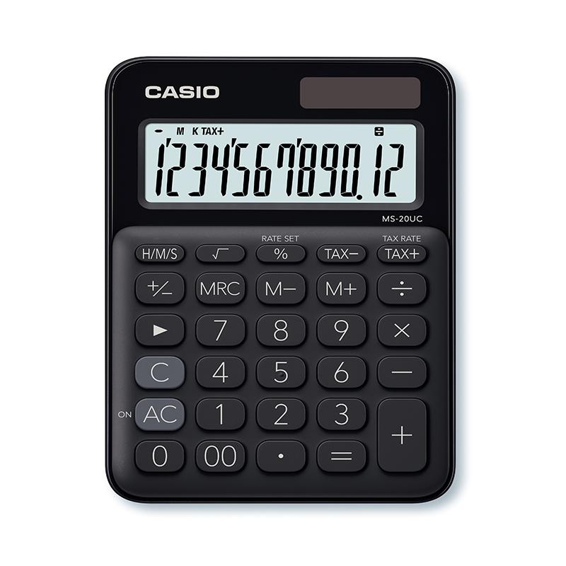 Kalkulators CASIO MS-20UC, 105 x 150 x 23 mm, melns
