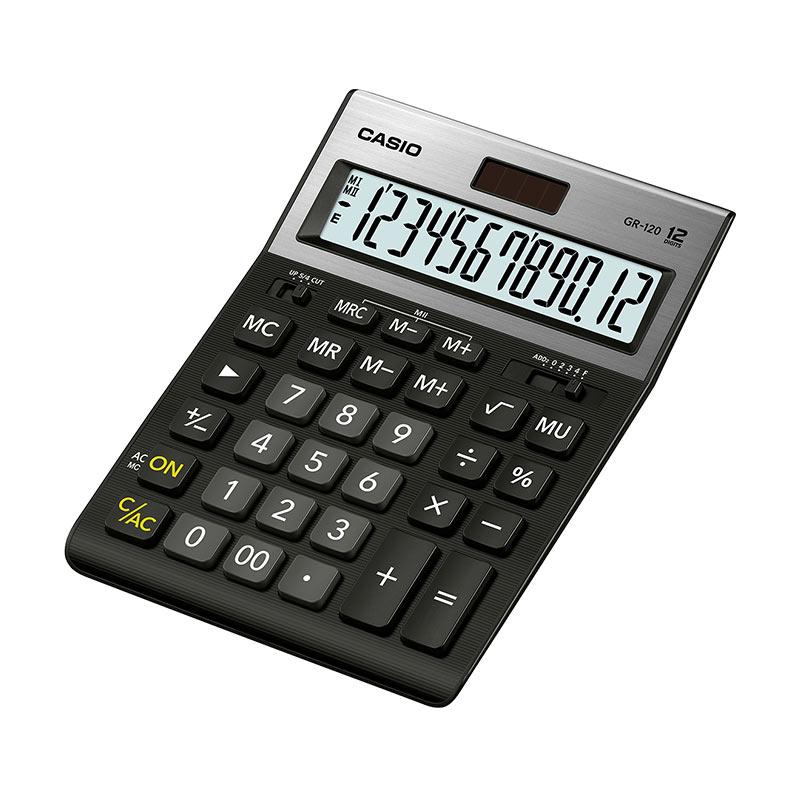 Galda kalkulators CASIO GR-120, 155x209x35 mm, melns/sudrabs