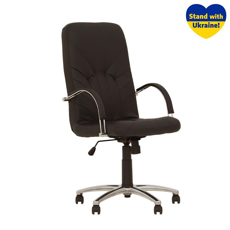 Biroja krēsls NOWY STYL MANAGER STEEL Chrome ECO30 melnas ādas imitācija