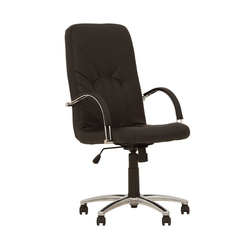 Biroja krēsls NOWY STYL MANAGER STEEL Chrome RD1 melnas ādas imitācija