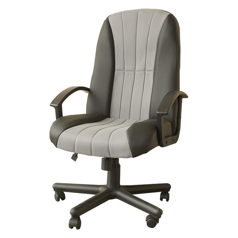 Biroja krēsls Nowy Styl Mexico melnas ādas imitācijas ECO30 un pelēka auduma LS11 kombinācija