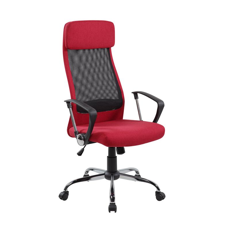 Biroja krēsls Office4You DARLA sarkans audums, hromēts pamats