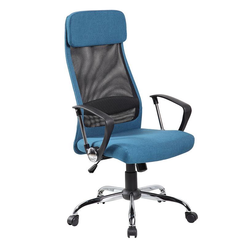 Biroja krēsls Office4You DARLA zils audums, hromēts pamats