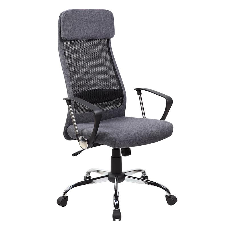 Darba krēsls Office4You DARLA pelēks audums, hromēts pamats