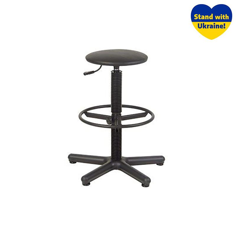 Krēsls NOWY STYL STOOL GTS RING STOPKI melnas ādas imitācija V-14 ar kāju gredzenu