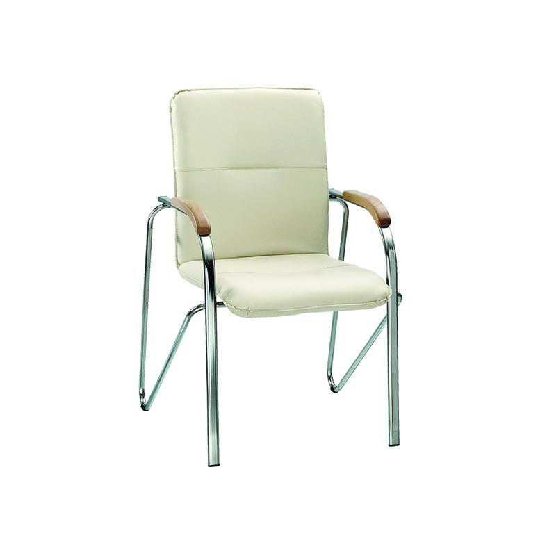 Konferenču krēsls NOWY STYL SAMBA ziloņkaulas krāsas ādas imitācija V-18, koka rokturi 1.007