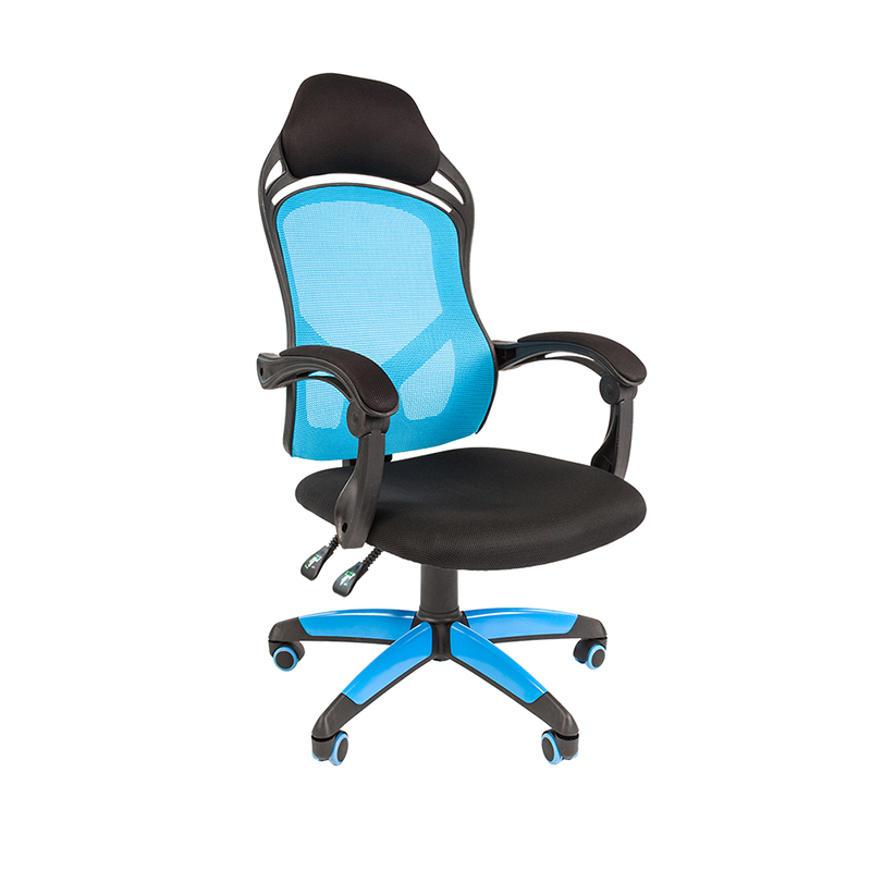 Biroja krēsls CHAIRMAN GAME 12, melns/zils  audumu, melns/ zils pamats