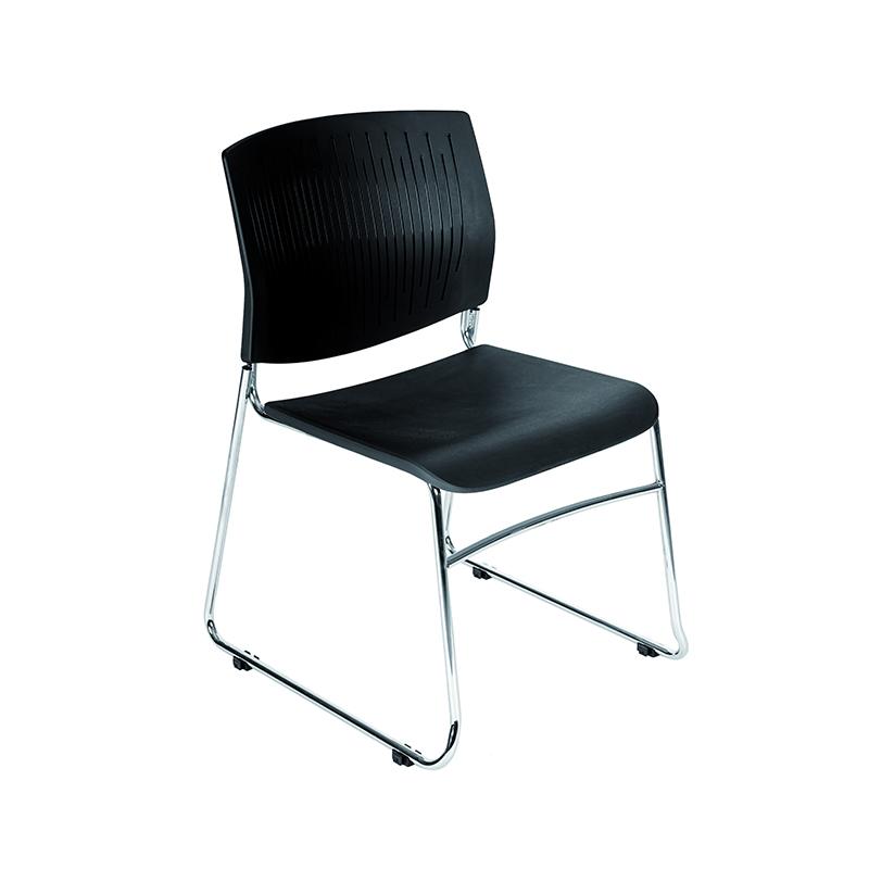 Ergonomisks apmeklētāju krēsls ROCADA 968 melns plastiks, hromets karkass