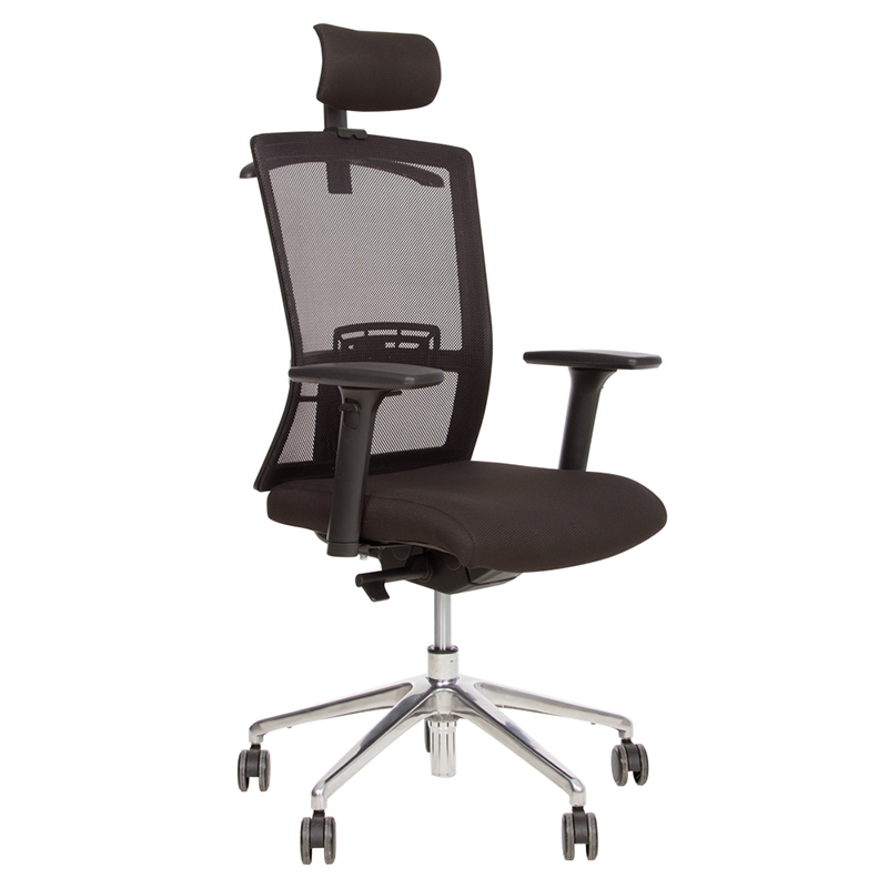 Ergonomisks biroja krēsls NOWY STYL STILO R HR Chrome melns audums, alumīnija pamats