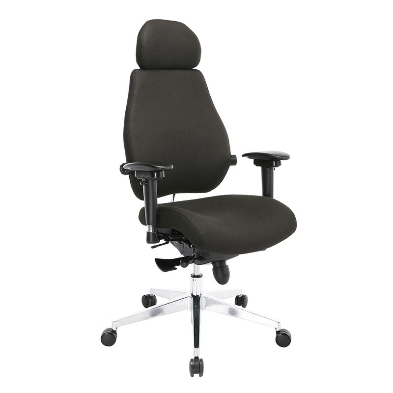 Biroja krēsls OFFICE4YOU FOCUS EXTRA ar muguras atbalstu, melns
