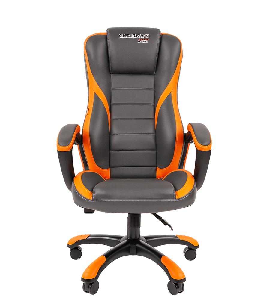 Biroja krēsls CHAIRMAN GAME 22 eco-āda, pelēks/zils