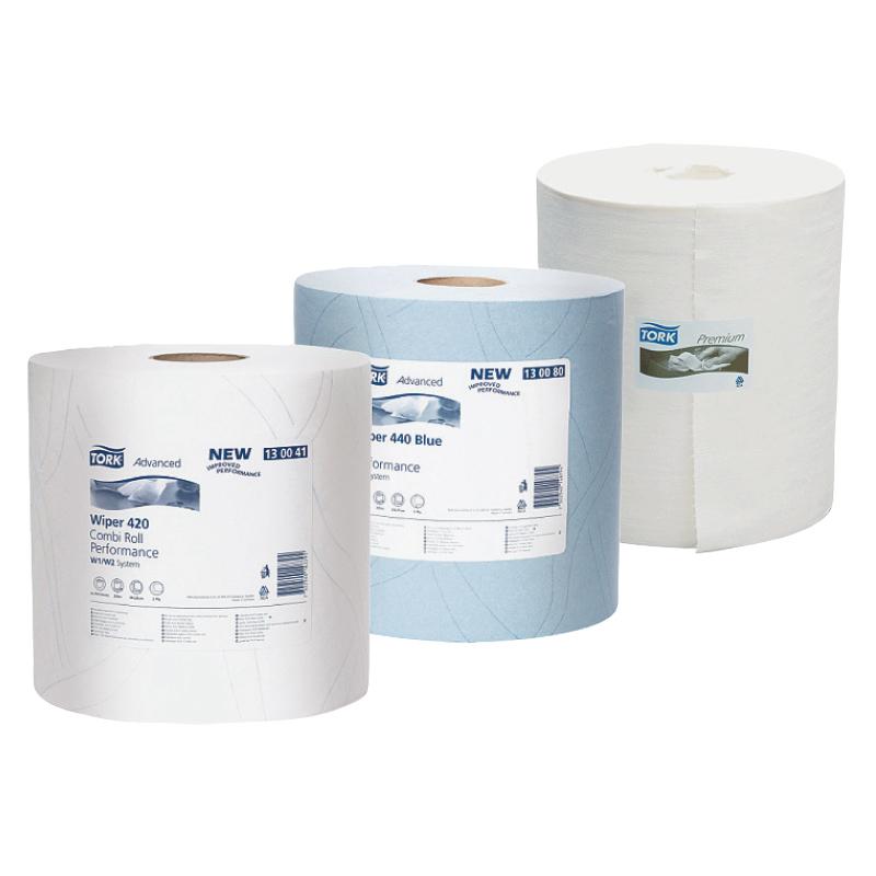 Industriālais papīrs TORK Premium 530 Wiper Pak W1/W2/W3, 1.sl., 280 lapas rullī, 32 cm x 106 m, baltā krāsā