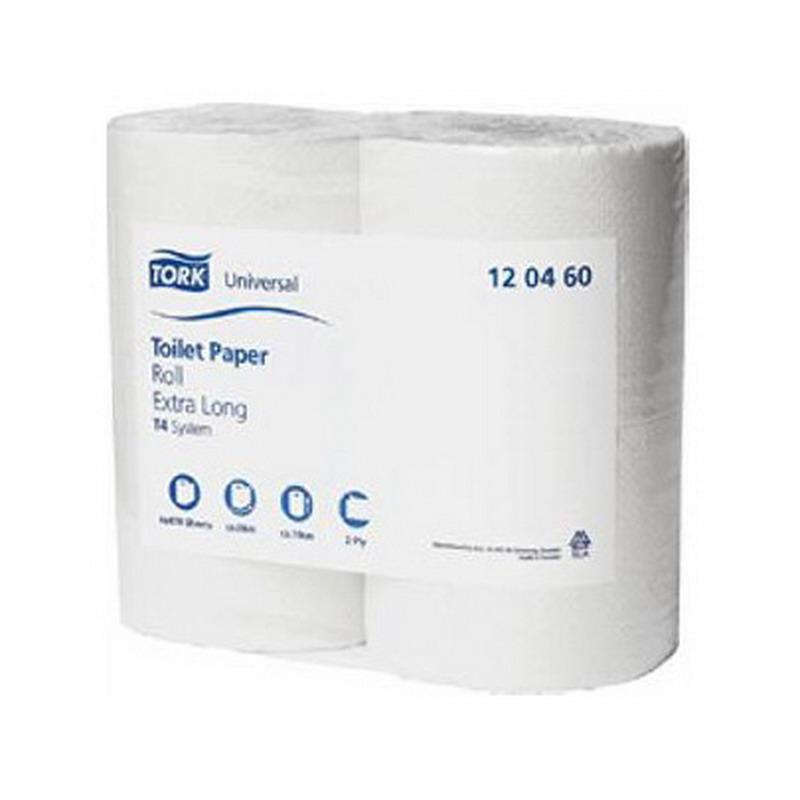 Tualetes papīrs TORK Universal Extra Long T4, 2 sl., 470 lapiņas rullī, 9.9 cm x 66 m, nebalināts