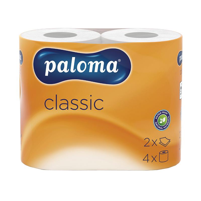 Tualetes papīrs PALOMA CLASSIC, 2 sl., 150 lapiņas rullī, 10 cm x 18 m, baltā krāsā