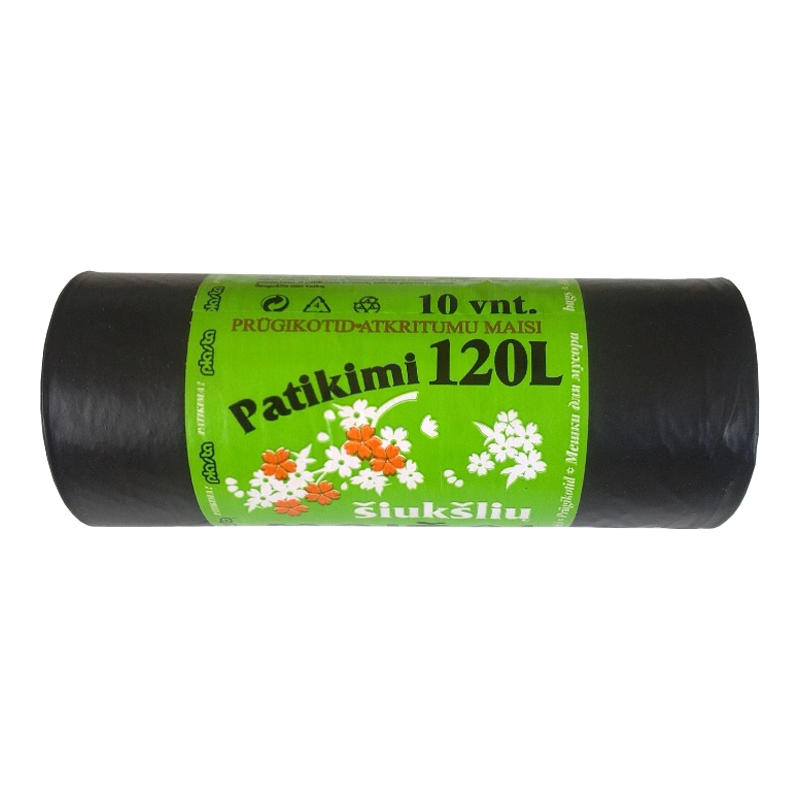 Atkritumu maisi PLASTA 120L, 35 mkr, melni, 10 gab. rullī