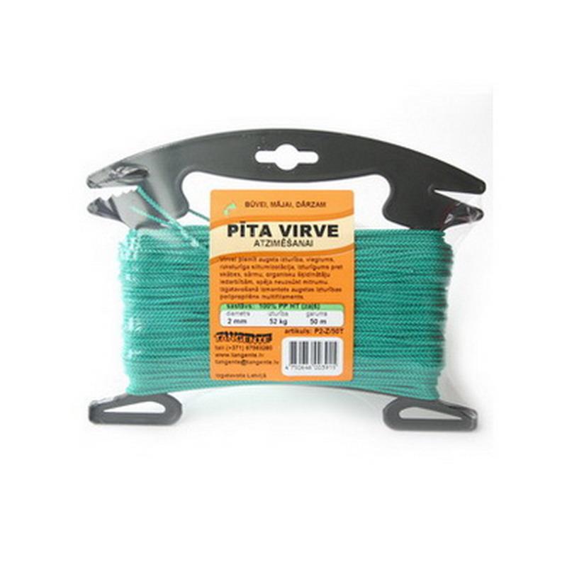 Pīta virve atzīmēšanai TANGENTE, polipropilēna, Ø 2mm, 50 m, zaļā krāsā