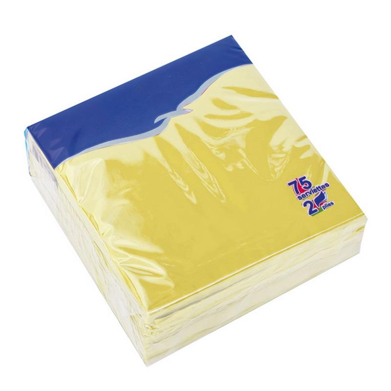 Salvetes LENEK, 2 sl., 75 salvetes, 24 x 24 cm, gaiši dzeltenā krāsā