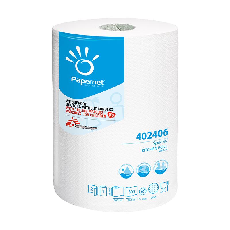 Papīra dvieļi PAPERNET, 2 sl., 23.4 x 68.91 m, baltā krāsā