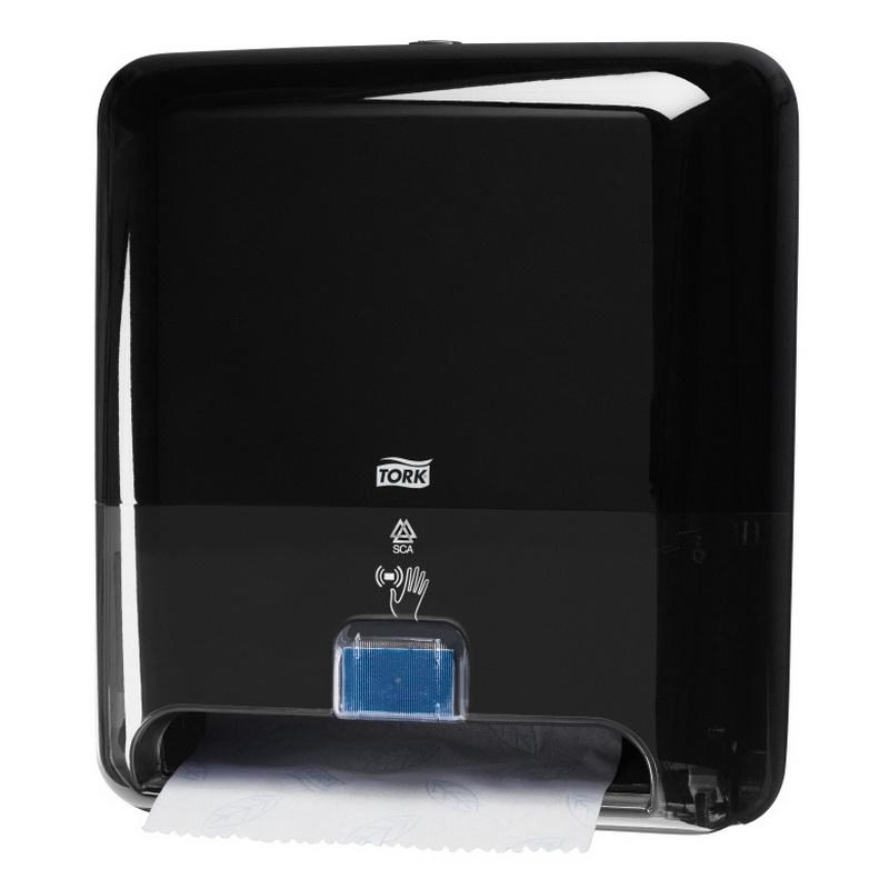 Roku dvieļu ruļļu dozators TORK Matic ar Intuition sensoru, 331 x 368 x 206 mm, melnā krāsā