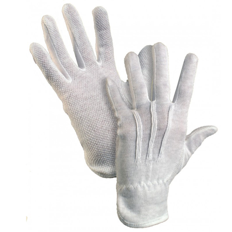 Kokvilnas darba cimdi pirkstaiņi ar gumijas punktiem vienā pusē ar izmēru S/7, balti pāris